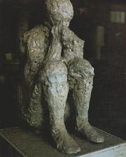 Plaster cast of human beeing in Pompeii
