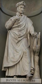 Statue of Dante Alighieri at the entrance of Uffizi