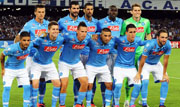 A photo of the Naples team for the beginning of a match