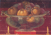 Fresco from Oplontis representing with a basket of pomegranates
