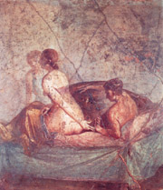 Erotic scene from the House of Cecilio Giocondo from Pompeii