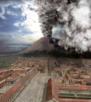 Reconstruction of Pompeii and Vesuvius on the 24th august 79 a.D.