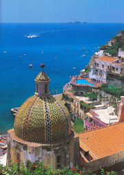 Positano and its cupola with majolica tiles