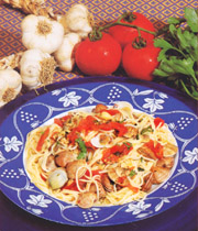Vermicelli with sea fruits and tomato sauce, typical dish of the territory