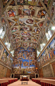 The frescoes in the Sistine Chapel 