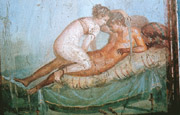 One of the two erotic paintings which decorated a private bed chamber