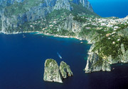 Bird's eye view of the Faraglioni Rocks of Capri