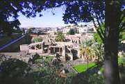 The ruins of Herculaneum seen from a distance