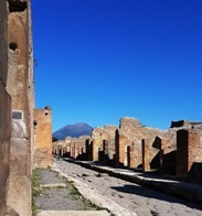 A view of Vesuvius imaged from inside Pompeii ruins