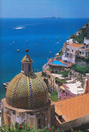 View of Positano with its church