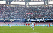 The grass of the San Paolo Stadium in Naples