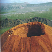 Volcanic cone of Vesuvius and its view