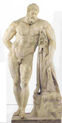 The marble statue of Farnese Hercules of the Archaeological Museum of Naples