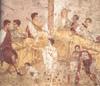 A Roman fresco representing a banquet