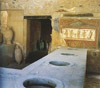 The thermopolium on Via dell'Abbondanza is an example of an ancient fat-food restaurant. Warm cooked foods were stored in a masonry counter and were eaten on the spot